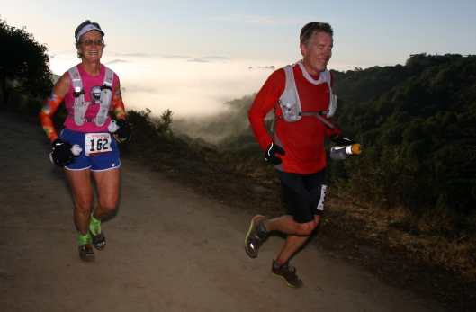 My secret is to sleep-run the part of a race (evidenced by closed eyes). With Sanborn Hodgkins jut above the morning fog.