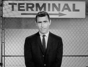 LOS ANGELES - OCTOBER 11: Rod Serling, host and narrator of The Twilight Zone. 'Nightmare At 20,000 Feet,' episode of The Twilight Zone. Initial television broadcast on October 11, 1963. Image is a frame grab. (Photo by CBS via Getty Images)